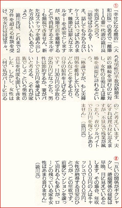 日刊ゲンダイ2010年8月24日刊にて『年収分のキャッシュがあるなら離婚しよう』という記事で取材を受け、コメントをさせていただきました。