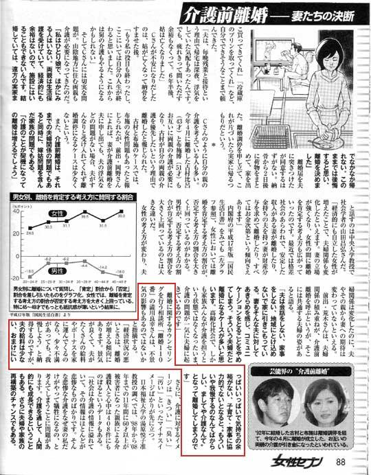 女性セブン2009年12月3日号にて『介護前離婚-妻たちの決断』という記事で取材を受け、コメントをさせていただきました。